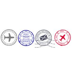 postmarks colored set postal elements vector image