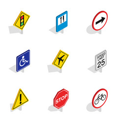 Prohibition sign icons isometric 3d style vector