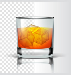 Realistic glass with bourbon and ice cubes vector