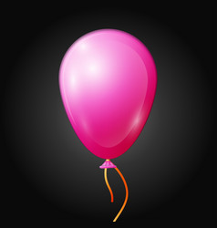 Realistic pink balloon with ribbon isolated vector
