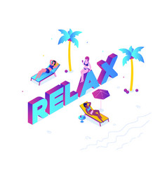 relaxation concept - modern colorful isometric vector image