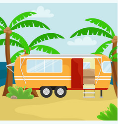 Retro house on wheels for traveling car travel in vector