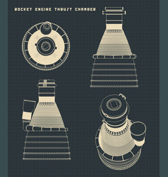 Rocket engine thrust chamber drawings vector