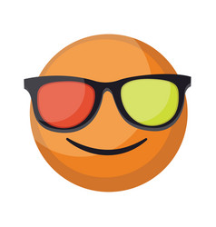 round orange smilling emoji face with sunglasses vector image