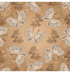 Seamless beige pattern with butterflies vector
