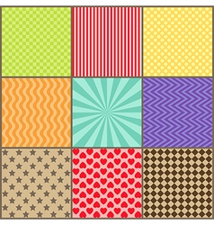 Set of nine simple geometric patterns vector image