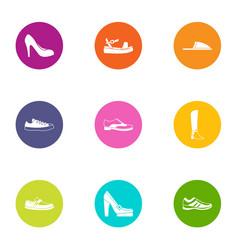 Slipper icons set flat style vector
