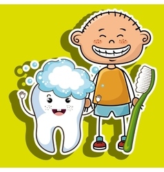 smiling cartoon child with toothbrush and big vector image