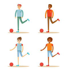 soccer player hits the ball set vector image