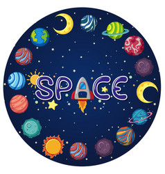 space logo with many planets in circle shape vector image