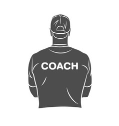 sports coach stands with his back in a t-shirt and vector image