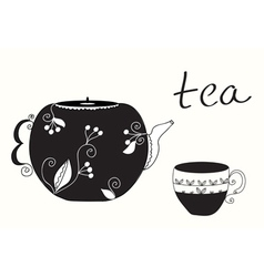 Tea cup and teapot background vector image