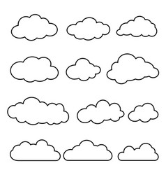 thin line set clouds isolated vector image