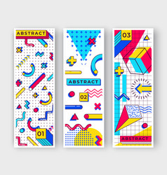 Three vertical memphis banners abstract 90s vector