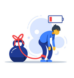 Tired man tied to kettlebell exhausted person vector