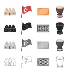 turkey attributes tourism and other web icon in vector image
