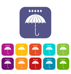 umbrella and rain drops icons set vector image