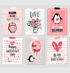 Valentines day card set - hand drawn style vector