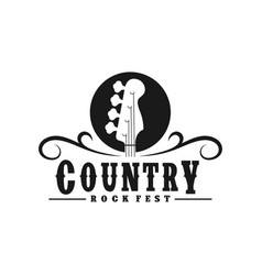 vintage retro country guitar bass music western vector image