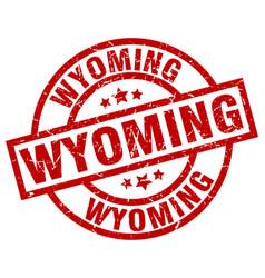 Wyoming red round grunge stamp vector