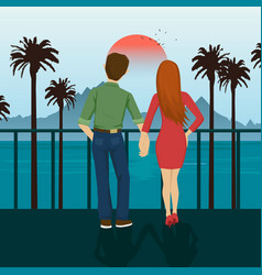 Young couple holding hands standing on seafront vector