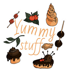 yummy things in childish style vector image
