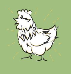 chicken hand drawn happy white hen vector image