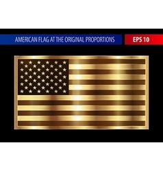 Gold American flag in a metallic frame vector image