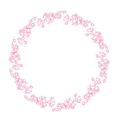 pink flower wreath hand-drawn frame made in vector image