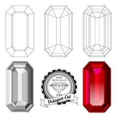 Set of octagon cut jewel views vector image vector image