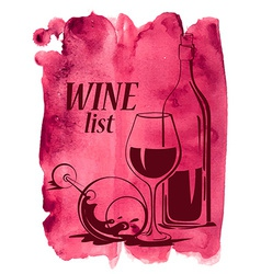 Watercolor background with wine glasses and bottle vector