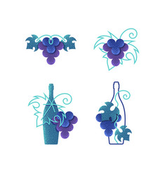wine grapes and bottles vector image vector image