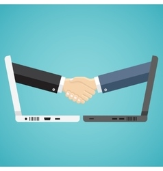 Businessmen shake hands from two computers vector image vector image