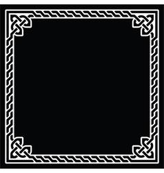 Celtic frame border white pattern on black vector image vector image