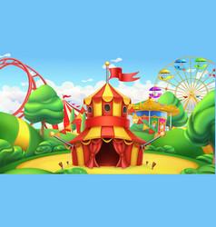 circus tent amusement park 3d landscape vector image