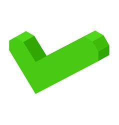 Green volumetric check mark icon isolated cartoon vector