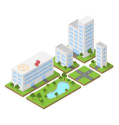isometric city building block flat 3d design vector image vector image