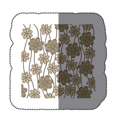 sticker background in grayscale of creepers with vector image