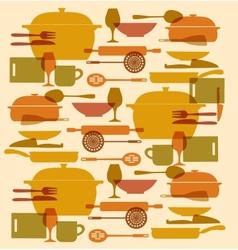 background kitchenware set vector image vector image
