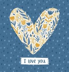 Floral heart love card vector