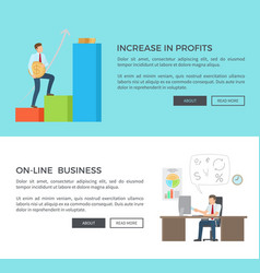 increase in profits online vector image vector image