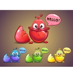 Cute cartoon newborn chick in the egg vector image vector image