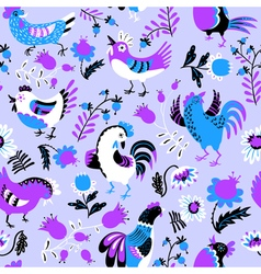 Cute decorative floral background with hen vector