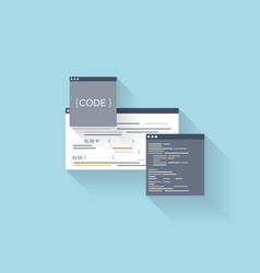Flat web icon Coding interface windowprogramming vector image