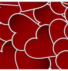 Red Hearts Paper Stickers EPS 10 vector image vector image