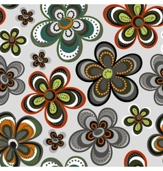 seamless floral pattern in doodle style vector image vector image
