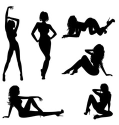 six sexy girls vector image