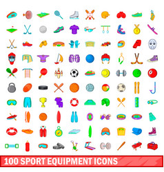 100 sport equipment icons set cartoon style vector image