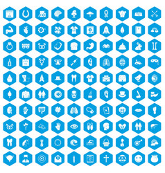 100 spring holidays icons set blue vector