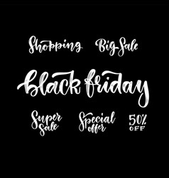 a set beautiful hand drawn black friday sale vector image